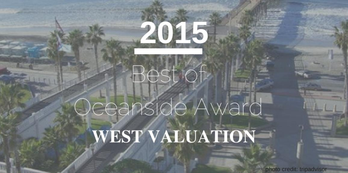 West Valuation Receives 2015 Best of Oceanside Award
